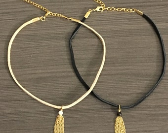 Choker with Tassel- Black or Tan suede choker with chain tassel