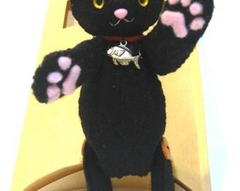 Black cat doll, cat doll, yellow eyed, cat plush stuffed animal, felt doll, kitty, handmade