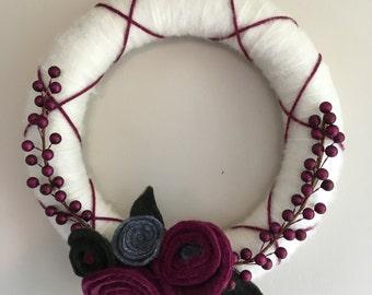 Cream/Burgandy yarn wreath
