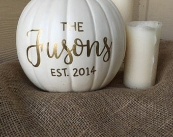 Fall Decor | Fall Pumpkin | Personalized Pumpkin | White Pumpkin | Pumpkin  Decor | Family Sign |  Thanksgiving Decor