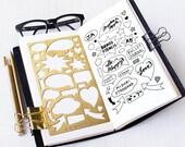 Planner Stencil, Bullet Journal Stencil, Talking Bubbles Metal Stencil - fits A5 journal & Midori Regular