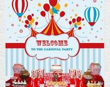 Circus Backdrop, Circus Birthday, Personalized Carnival Backdrop, Printable, DIY, Circus Dessert Table, Backdrop, Blue and Red, Baby Boy,