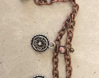 Beaded copper chain charm bracelet