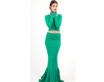 Bamboo Seville Skirt Jade with Frills, Spanish Dance Flamenco Shakti Dakini Dress, Artisan Multi Versitile Flared Mermaid Stretch