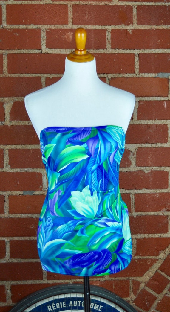 Vintage 1980s Blue White and Green Tropical Print Jantzen Skirted Swimsuit Sz 10