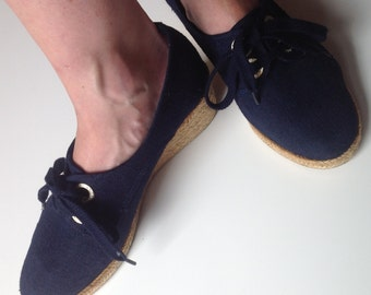 Basque espadrilles rope soled sandals navy blue