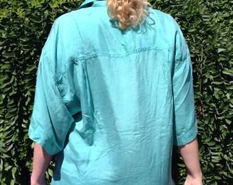 80s teal silk shirt