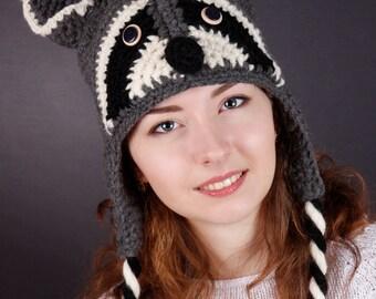 Raccoon Hat, Children Hat, Adult Hat, Winter Hat, Autumn Hat, Spring Hat, Gray Hat