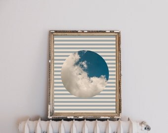 Cloud Photograph on Striped Background Printable Wall Art