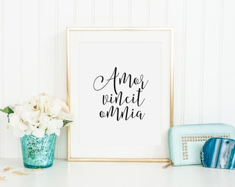AMOR VINCIT OMNIA, Love Quote,Love Sign,Latin Saying, Latin Words,Inspirational Quote,Gift For Her,Quote Prints,Latin Quote,Typography Print