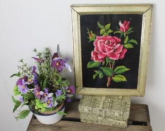 Vintage Rose Needlepoint/ Floral Needlepoint/ Vintage Needlework/Vintage Sewing/SALE (1I)