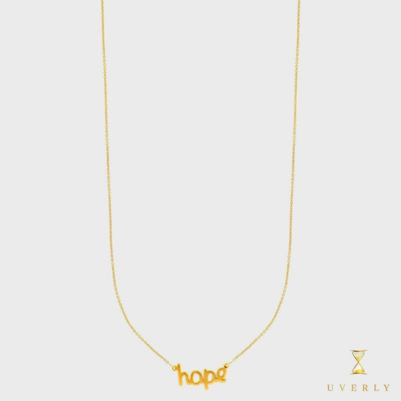 14k Solid Yellow Gold Hope Love Elegant Womens Charm Pendant  Necklace