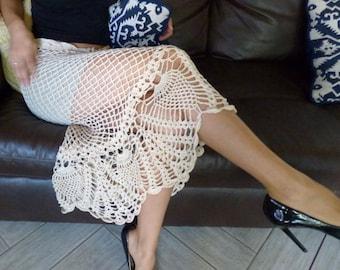 Sexy Women's Crochet Cotton Mermaid Style Beige Skirt