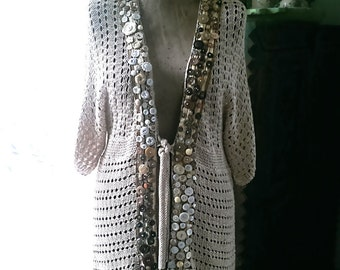 Button Cardy, Vintage Buttons, Creams, Coffee, Knitted, Vintage Silk Brocade, Hand Sewn, Cute Jacket, Boho, Cardigan