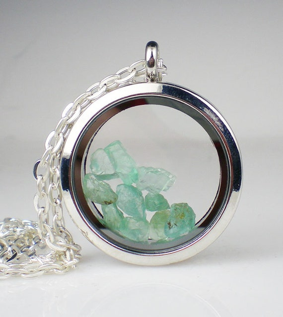 Aqua Apatite Gemstone Floating Glass Locket Necklace Aqua Sea Green Rough Gemstone Jewelry