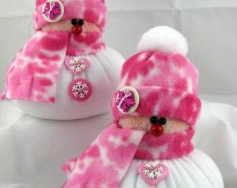 SNOWMAN DECORATION, Set of 2 Snowman Ornaments, Christmas Decoration, Christmas Ornaments, Fleece Snowmen, Stuffed Snowmen, Pink & White