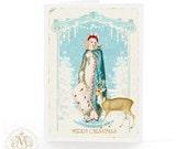 Jane Austen Regency Christmas card with deer, blank inside