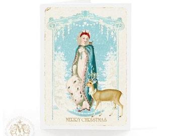 Jane Austen Regency Christmas card with deer, reindeer, white Christmas, blank inside