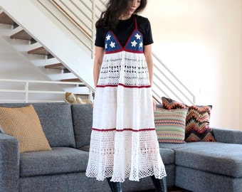 Size M/L Halter Dress in Americana - Cotton Crochet Lace- Limited Edition