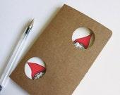 Christmas notebook - Peeking Elves: original altered Moleskine journal gift - full of holiday cheer. Book for kids, pre teens or siblings.