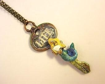 Mermaid Key Necklace, Mermaid Key Jewelry, Mermaid Message Necklace, Green Mermaid Necklace, Green Mermaid Jewelry, Mermaid Nautical Pendant