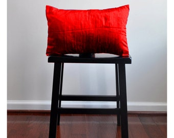 RED silk pillow, 12x16 lumbar pillow, toss pillow, decorative pillow, accent pillow, red pillow, dupioni silk