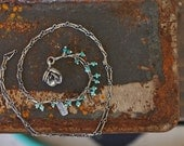 No. 1 - Long TURQUOISE Succulent Necklace - Sterling Silver handmade necklace- silver succulent