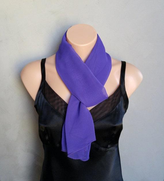 Purple Scarf, Violet Scarf, Sheer Skinny Dark Purple Chiffon Scarf, Chiffon Purple Scarf, Scarf Violet, Chiffon Violet Scarf, Scarf Purple