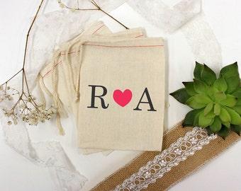 Custom Wedding Favor Bags, Muslin Bags, Personalized Wedding Favors, Custom Wedding Favors, Couple's Names, 3 x 5 --64509-MB03-610
