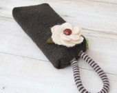 Chocolate Brown Boiled  Wool  Wristlet  with Detachable White Mohair Flower Brooch