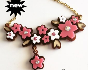 SAKURA laser cut acrylic necklace