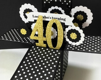 Pop Up Birthday Card - 40th Birthday Card - 3D Black, White and Gold Explosion Card - Choose any Age - 40, 50, 60, 70, 80 - Card in a Box
