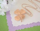 4 Leaf Clover Real Rose Gold, Real Clover, Shamrock, Pink Gold, Medium, Four Leaf Clover, CLOVER26