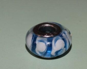 925 Silver Bead / Hand Blown Glass Bead, Charm Bracelet Bead, Glass Bead, Lot #209
