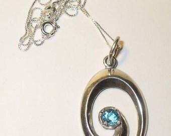 Sterling Swirl Pendant - Genuine Blue Topaz in Solid Silver