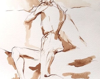 Figure Drawing -- Male Back Twist - Original Ink on Paper -  by Michelle Arnold Paine