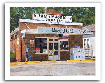 """Italian Grocery Store Art """"Sam Maggio Grocery"""" Bossier City, Louisiana 11x14"""" and 13x19"""" Signed Numbered Print"""