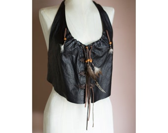 Vintage 90s WILSONS Black Genuine Leather SUEDE HIPPIE Lace up Corset Halter Top // Feather Vest Cropped top - Size Small/Medium