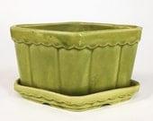 SALE | 1960s Ceramic Planter Pot | Lime Diamond | Green Vase Desk Organizer Utensil Caddy Bin Jar Storage Display | vtg DECOR | FOUND byLB