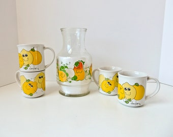 Juice Pitcher 4 cups, Nancy Lynn Breakfast Set,Lemon Grapes Peach Apple Smiley Faces