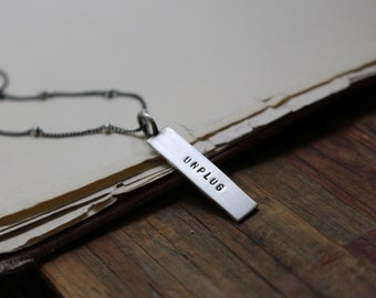 30% off Sale ~ Unplug ~ sterling silver mini message tag charm necklace, 18 inches ~ READY TO SHIP