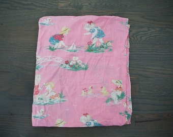 Vintage Pair Children's Pink Novelty Fabric Curtain Panels Boats Fishing Duck Pond