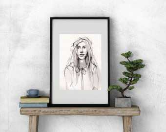 Art Drawing Pen and Ink Woman  Ruffle Collar Portrait PRINT