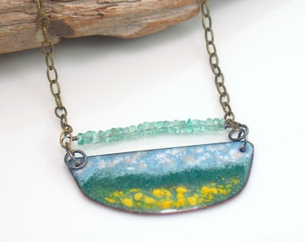 Copper Enameled Bar Pendant, Landscape Art Necklace, Original Jewelry, Vitreous Enamel with Yellow and Apatite, Ready to Mail, WillOaks