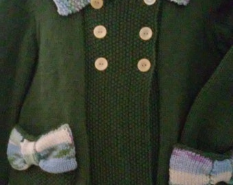 Hand knit Double Breasted Medium Thyme color Dress Coat with pockets in Seed Stitch,  Size 4T