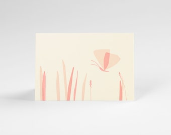 Butterfly And Grass Letterpress Note Card Set