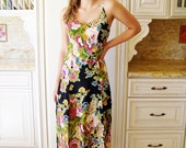 Betsey Johnson, Floral Dress, Designer dress, Floral maxi dress, Black floral dress, long Summer dress, size S