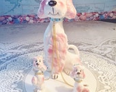 Poodle figurines, Poodle and pups set, Pink Poodle set, Kreiss & company, 50s poodle figurine