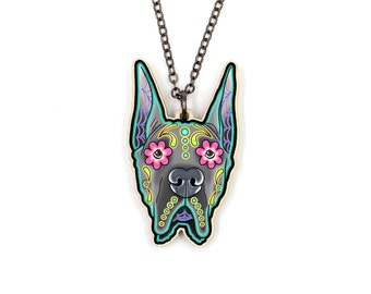 Great Dane Necklace - Cropped Ear Edition - Day of the Dead Sugar Skull Dog Pendant