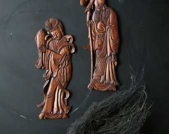 Pair of Wood Figures Bass Relief Figures Carved Wood Old Man and Woman Vintage from Nowvintage on etsy
